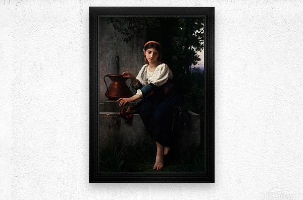 Young Girl Gathering Water At The Fountain by Elizabeth Gardner Classical Fine Art Xzendor7 Old Masters Reproductions  Metal print