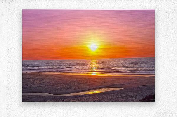 Serenity Found - Calming Atlantic Sunset in Portugal  Metal print
