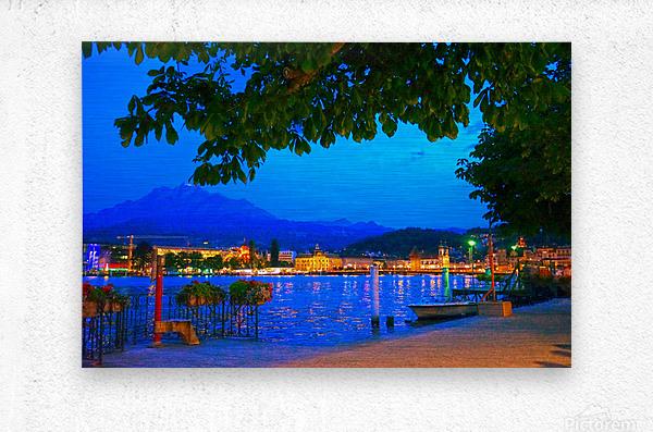 City Lights over Lake Lucerne Switzerland  Metal print
