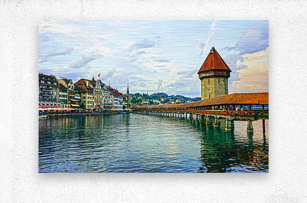 Chapel Bridge and Old Town at Sunset Lucerne Switzerland  Metal print