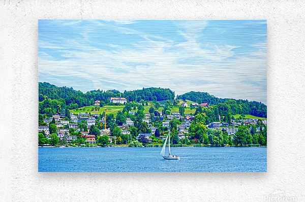 Sailboat On Lake Lucerne with Alpine Village in Background  Metal print