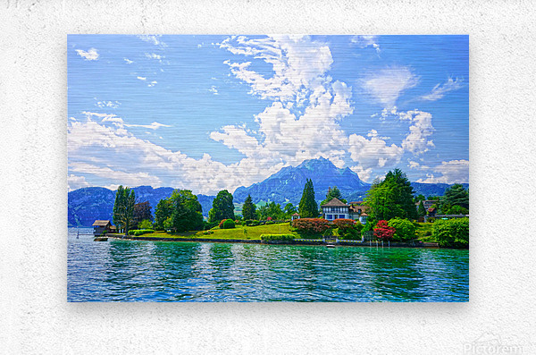 Perfect Day on the shores of Lake Lucerne Switzerland  Metal print