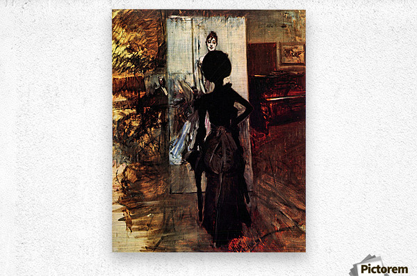 Woman in front of the painting White pastel picture by Giovanni Boldini  Metal print