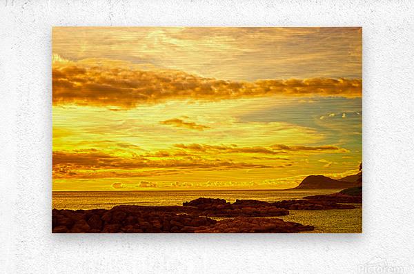 Sunset in Paradise   South Seas  Metal print