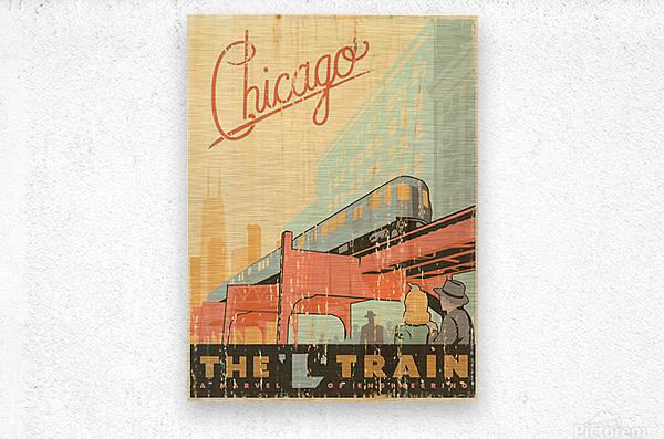 Chicago L Train Vintage Art Poster  Metal print