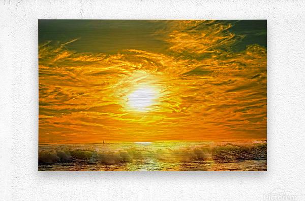 Wild Waves Break as the Sun Sets over Catalina Island in Newport Beach California  Metal print