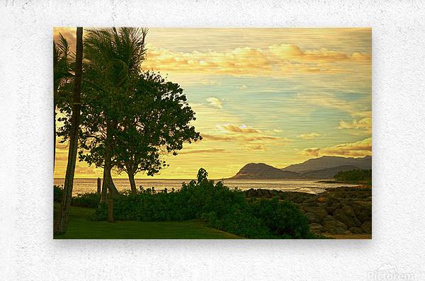 Sunset over the Bay Oahu Hawaii  Metal print