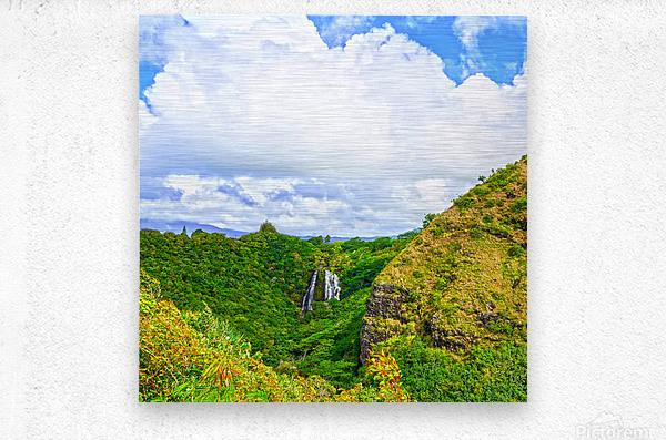 The Falls at the Mountain Overlook on Kauai Square  Metal print