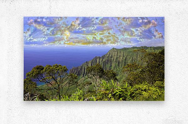 Sunset at Puu O Kila Lookout Kohala Mountains on the Island of Kauai in Hawaii Panorama  Metal print