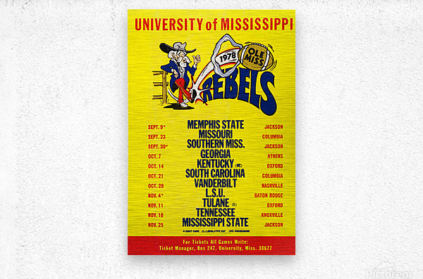 1978 Ole Miss Football Schedule Art  Metal print