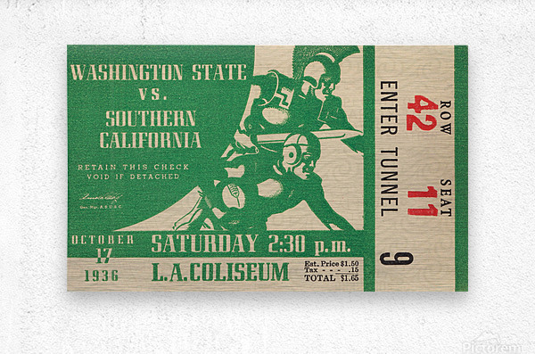 1936 Washington State Cougars vs. USC Trojans  Metal print