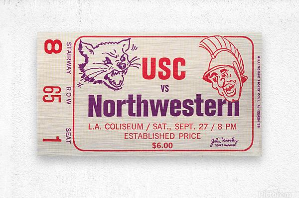 1969 USC Trojans vs. Northwestern Wildcats  Metal print
