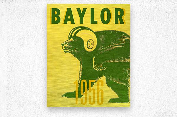 1956 Baylor Bears Vintage Football Art Remix  Metal print