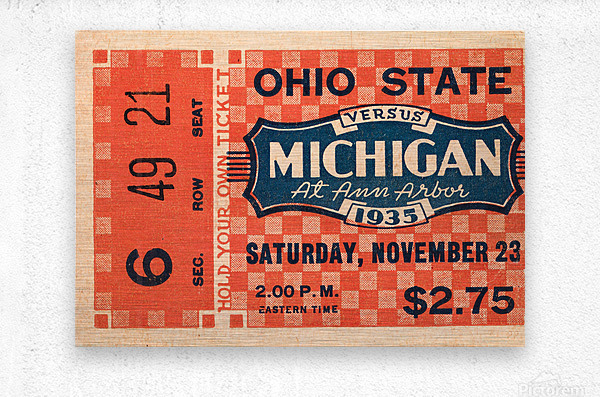 1935 Michigan Wolverines vs. Ohio State Buckeyes Ticket Art  Metal print