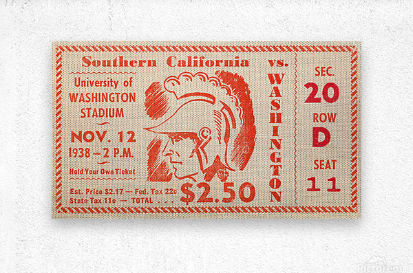 1938 USC Trojans vs. Washington Huskies  Metal print