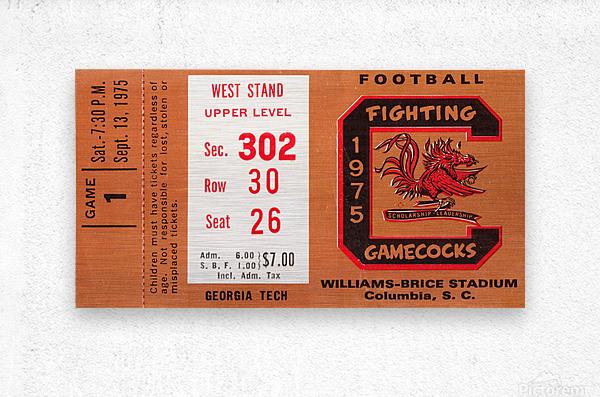 1975 South Carolina Gamecocks vs. Georgia Tech  Metal print