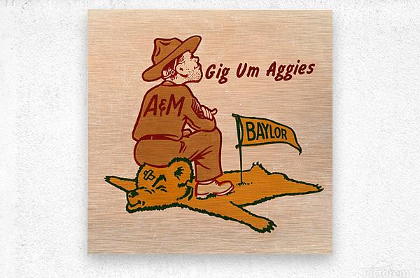 Vintage Fifties Texas A&M vs. Baylor Cartoon Art  Metal print