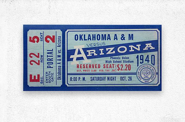 1940 Arizona Wildcats vs. Oklahoma A&M Aggies  Metal print