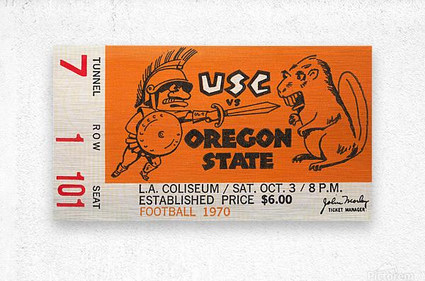 1970 USC Trojans vs. Oregon State Beavers  Metal print