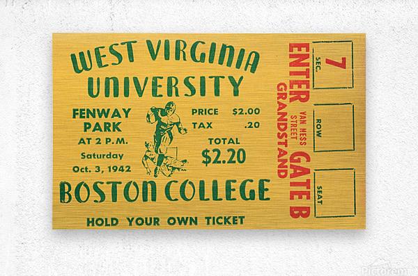 1942 Boston College Eagles vs. West Virginia Mountaineers  Metal print
