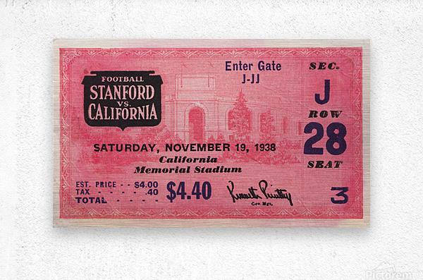 1938 Stanford Indians vs. Cal Bears Big Game Ticket Stub Art  Metal print