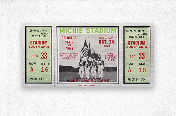 1959 Colorado State Rams vs. Army Cadets  Metal print