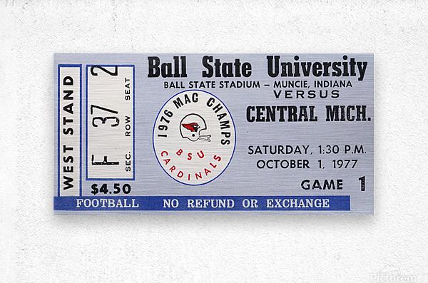 1977 Ball State Cardinals vs. Central Michigan Chippewas  Metal print