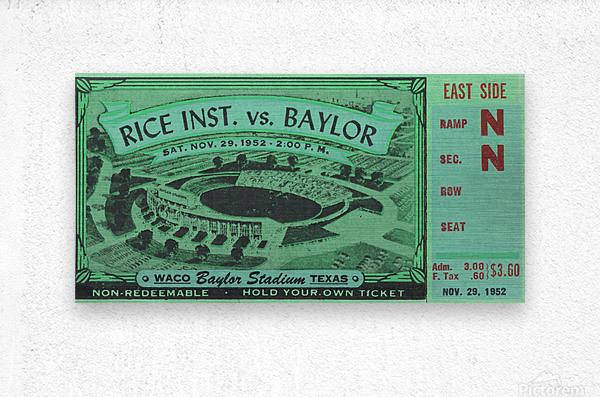 1952 Rice Owls vs. Baylor Bears  Metal print