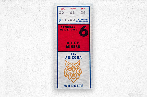 1981 Arizona Wildcats vs. UTEP Miners  Metal print