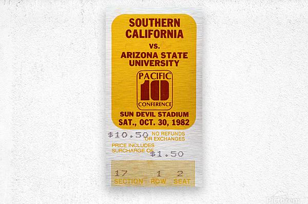 1982 USC vs. Arizona State Football Ticket Art  Metal print