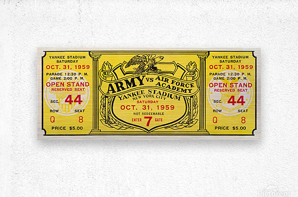 1959 Army vs. Air Force Football Ticket Art  Metal print