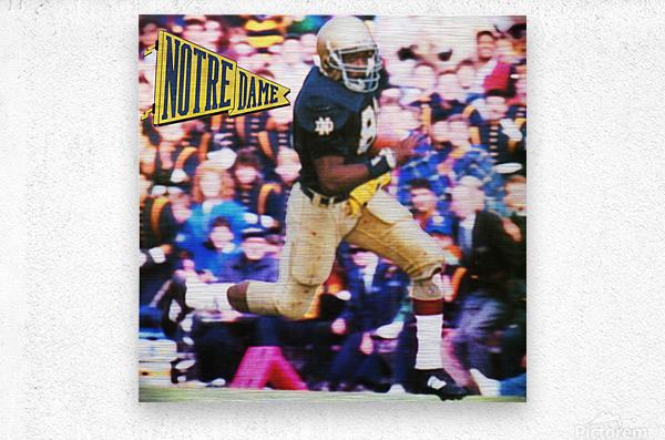 Retro Notre Dame Tim Brown Football Art  Metal print