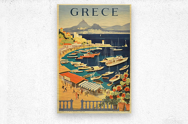 Greece original vintage travel poster  Metal print