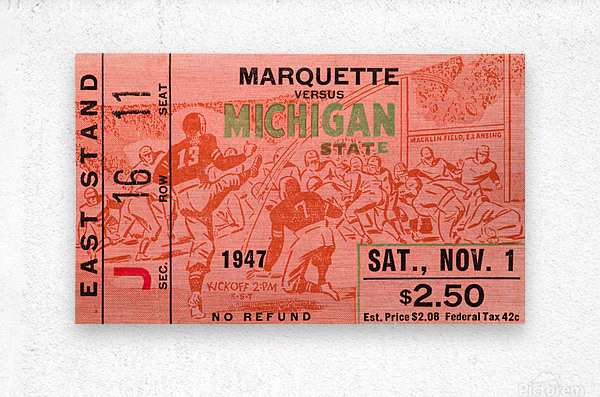 1947 Michigan State Spartans vs. Marquette Hilltoppers   Metal print