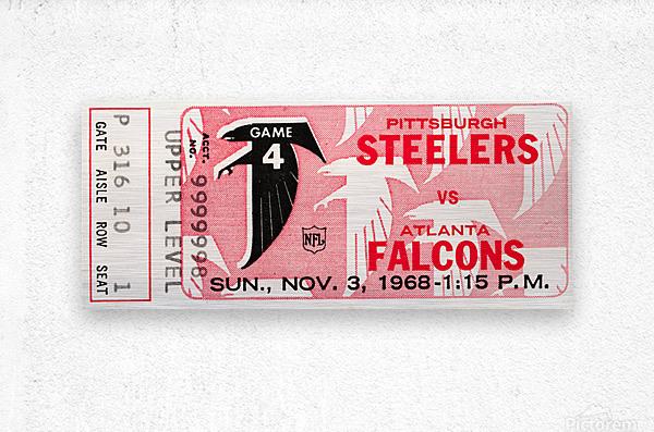 1968 Atlanta Falcons vs. Pittsburgh Steelers Ticket Art  Metal print