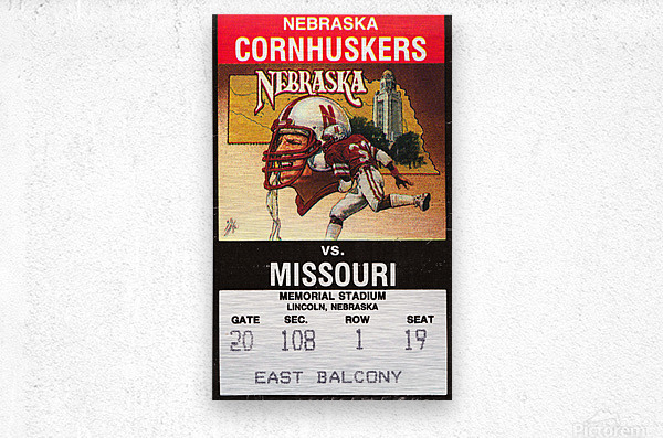 1988 Nebraska Cornhuskers vs. Missouri Tigers  Metal print