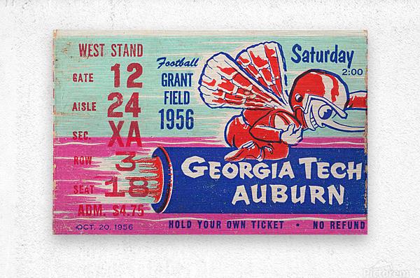 1956 Georgia Tech vs. Auburn Football Ticket Stub Art  Metal print
