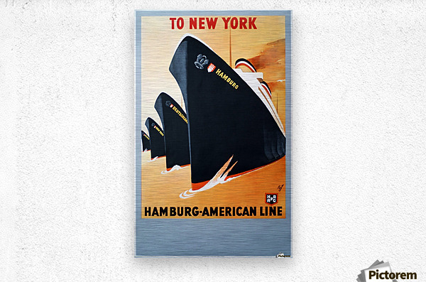 To New York Hamburg American Line travel poster  Metal print