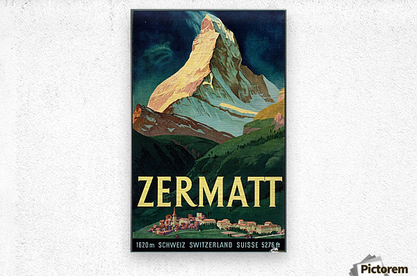 Vintage Travel Poster Art~CANVAS PRINT 8x12~Zermatt Switzerland Painting Drawing