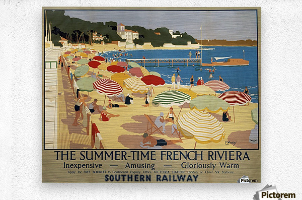 The Summertime French Riviera Southern Railway travel poster  Metal print