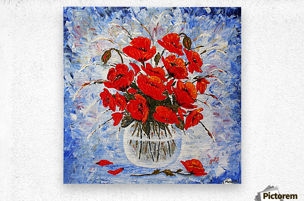 Morning Red Poppies original palette knife painting  Metal print