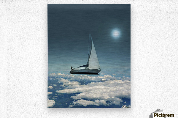 Navigating Trough Clouds Fantasy Collage Photo  Metal print