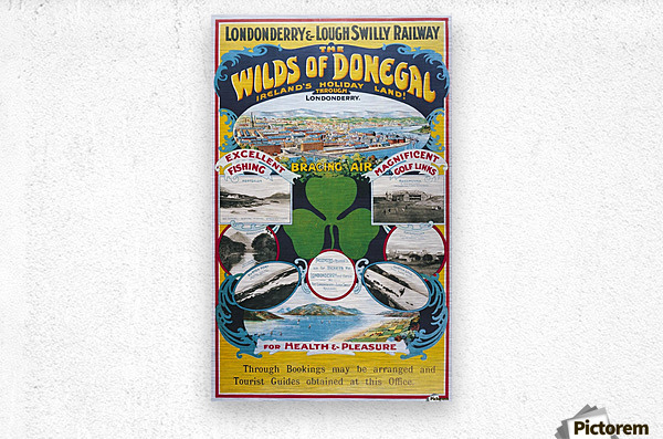 Irish Travel Art Poster, Wilds of Donegal, Ireland  Metal print