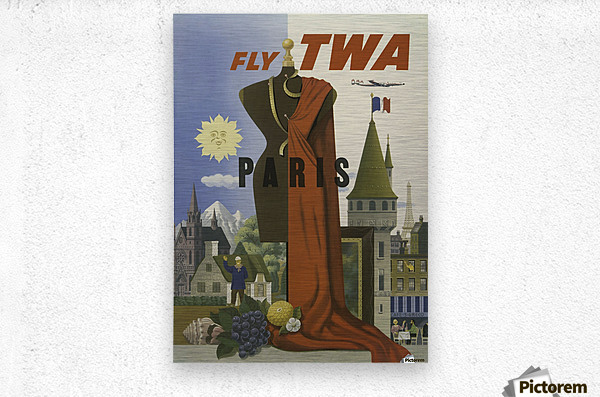 Fly TWA Paris Tourism Poster  Metal print