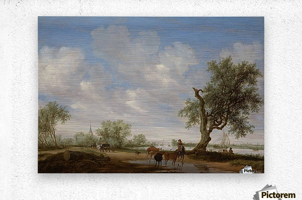 Landscape with a Road alongside a River  Metal print