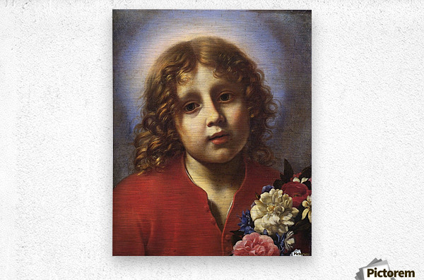 Child with flowers  Metal print