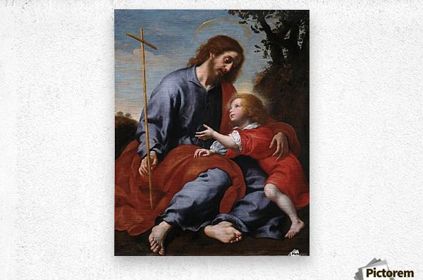San Giuseppe mostra la croce a Gesu Bambino  Metal print