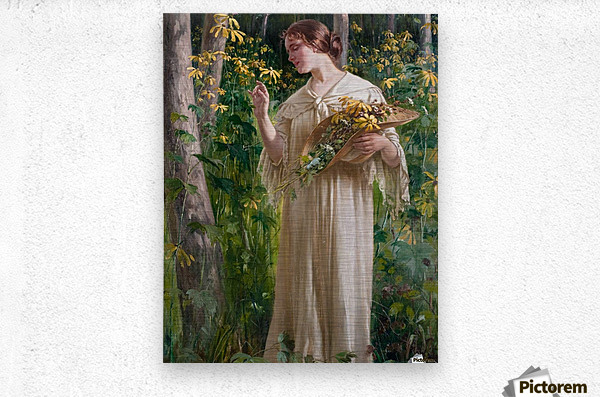 Lady in forest  Metal print