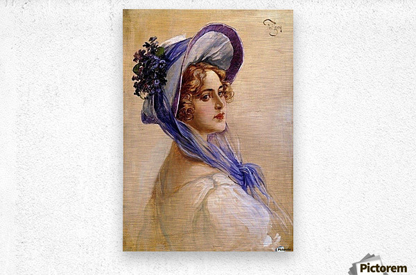 Youbg lady with purple hat  Metal print