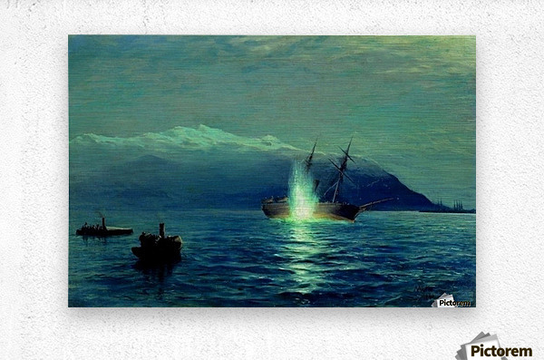 The sinking of the Turkish steamer Intibakh  Metal print